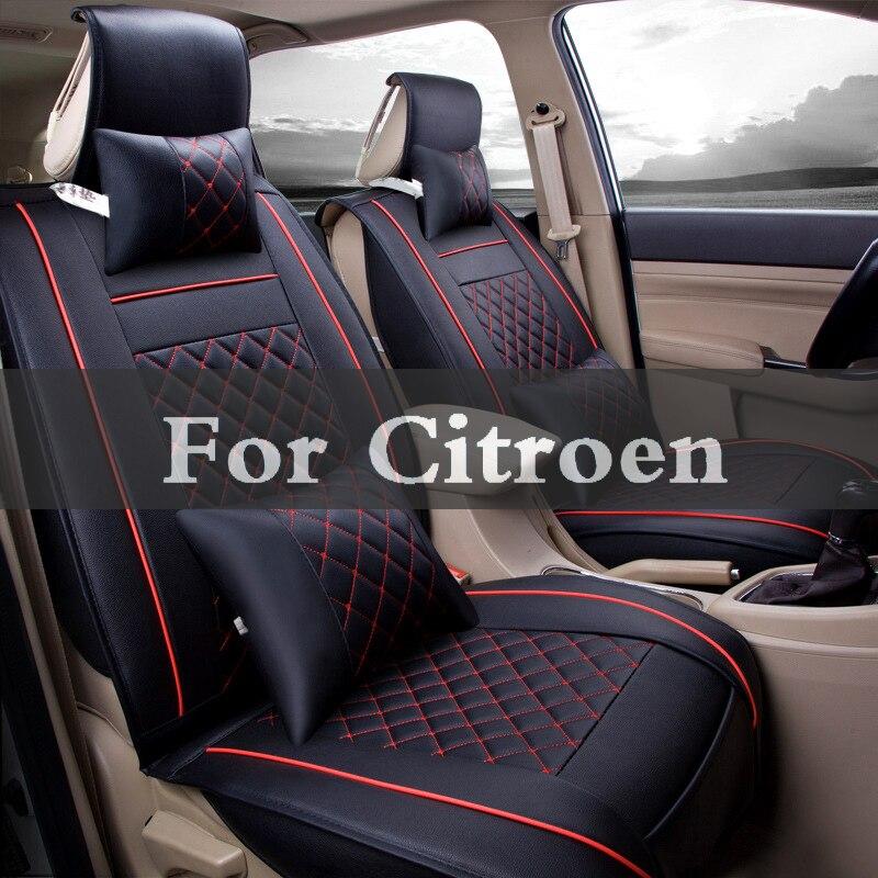 Cushion Interior Car Seat Covers 4 Seasons Pu Leather Auto Seat Cushion Pads Set For Citroen C1 Aircross C5 C6 Cactus C2 C4 C3 kalaisike linen universal car seat covers for citroen all models c4 aircross c4 picasso c5 c4 c2 c6 c elysee c triomphe