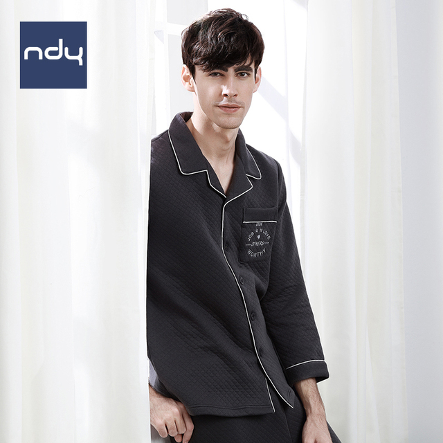 Ndy winter pure cotton long sleeve pajama set men's thicken keep warm fashion and contracted sleepwear leisure wear suits