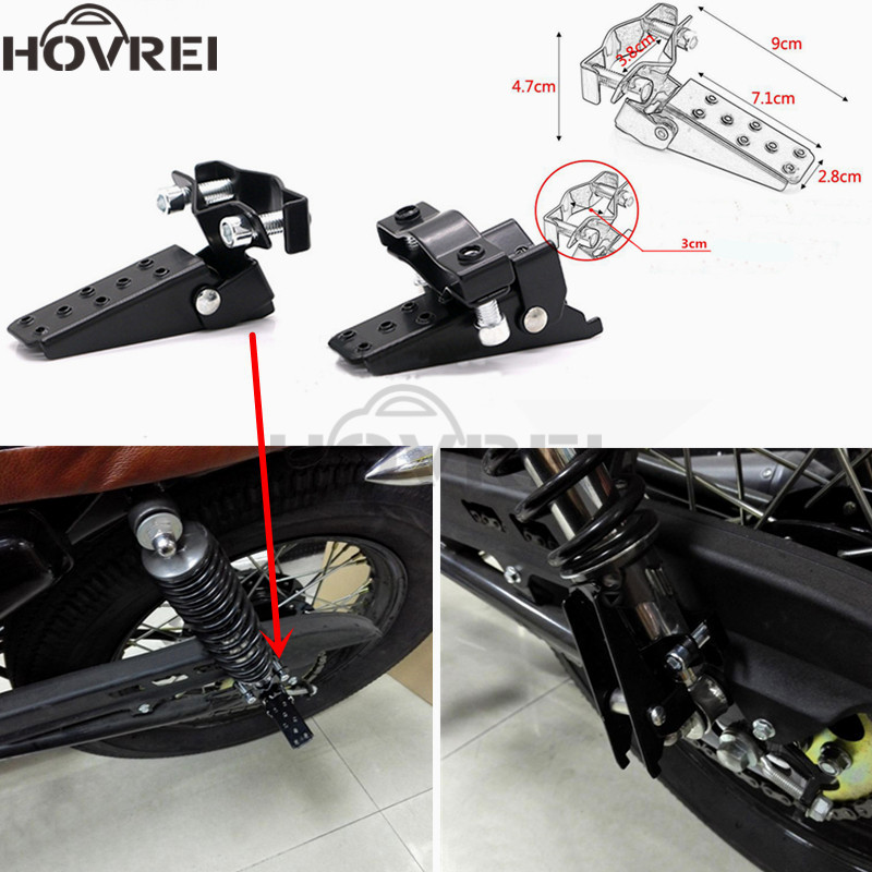 1 Pair Universal Retro Motorcycle Black Clamp-on Steel Axle Foldable Foot Pedal Step Pegs Motobike Front Rear Folding Foot Rest