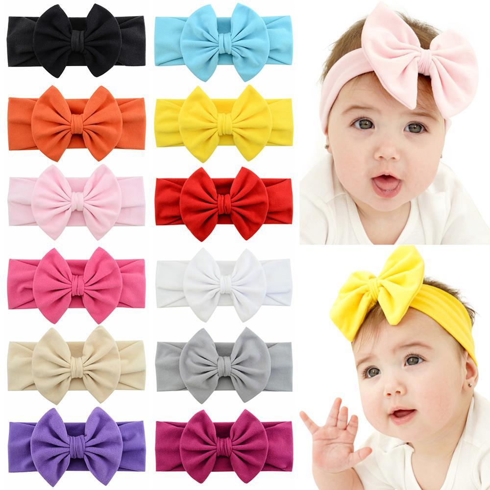 Kid Baby Flower Bow Hairband Headband Sweet Turban Soft Head Wrap Band Magic