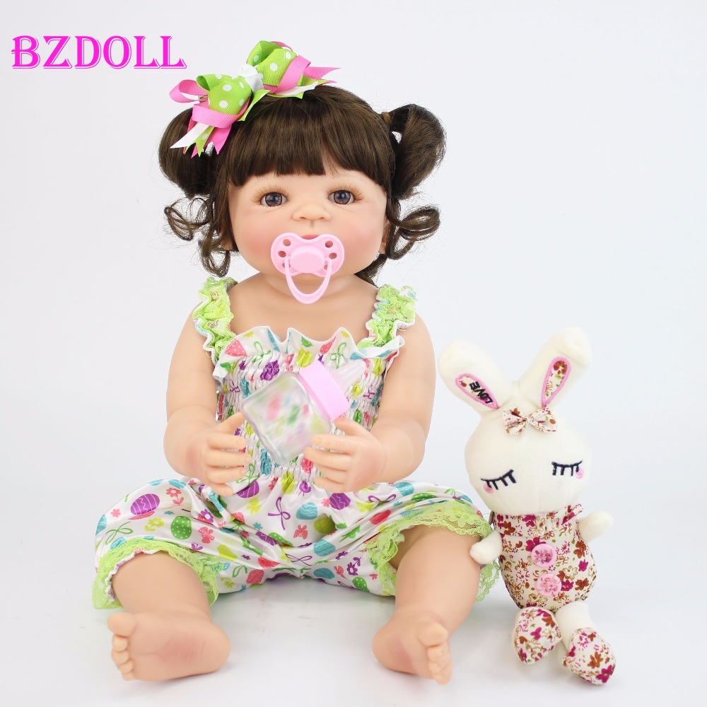 55cm Full Silicone Vinyl Reborn Baby Doll Toy For Girl Newborn Princess Babies Bebe Alive Bathe Accompanying Toy Birthday Gift-in Dolls from Toys & Hobbies    1