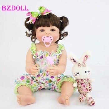 57 cm מלא סיליקון ויניל Reborn תינוק בובת צעצוע לילדה יילוד נסיכת תינוקות Bebe בחיים להתרחץ הנלווה צעצוע יום הולדת מתנה