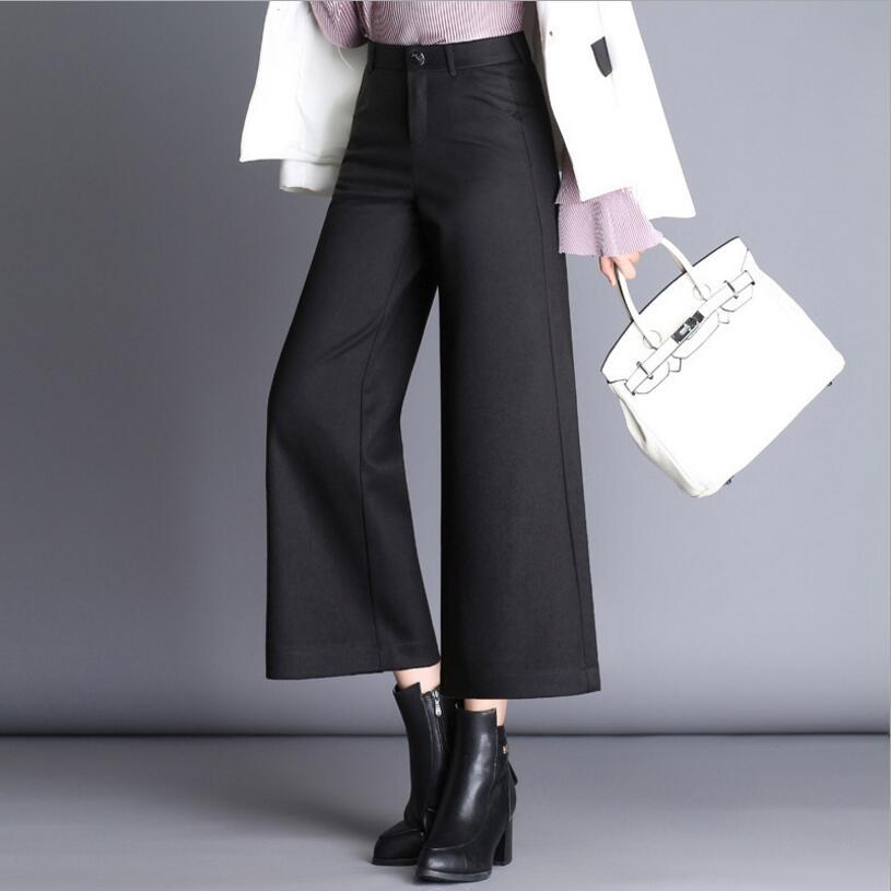 2019 Autumn Winter Woolen   Pants   Capris Women Fashion Elegant Plus Size Casual   Pants     Wide     Leg     Pants   Female Black   Pants   Women Y222