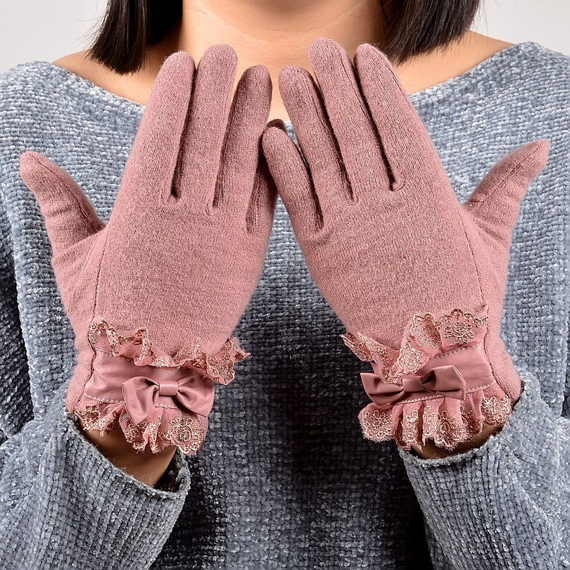 [BYSIFA] Ladies Pink Rabbit Hair Wool Mittens Gloves Fashion Women Gloves Elegant Lace Embroidery Bow Tie Thick Warm Soft Gloves