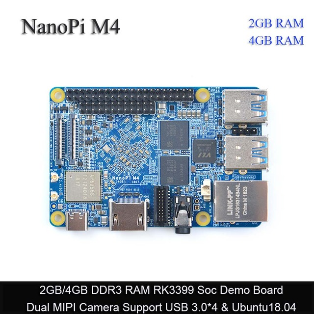 FriendlyElec NanoPi M4 2GB/4GB DDR3 Rockchip RK3399 SoC 2.4G & 5G dual band wiFi, destek Android 8.1 Ubuntu, AI ve derin öğrenmek