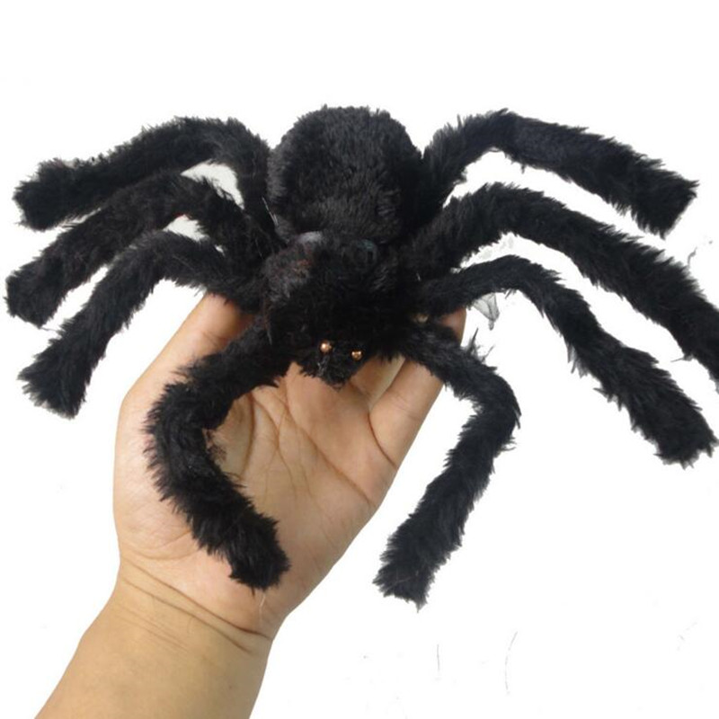 funny gadget novelty horror black furry spider halloween supplies props prank bar moving ornament april fools - Halloween Supplies