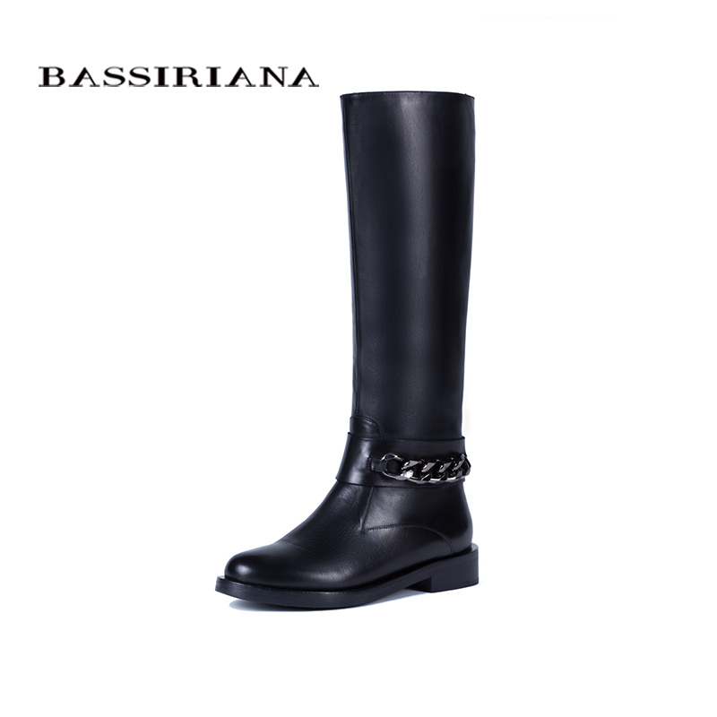 BASSIRIANA Nouveau 2017 classique véritable hiver en cuir de haute bottes chaussures femme suede zip bout rond laine avec chaîne noir 36-40 taille