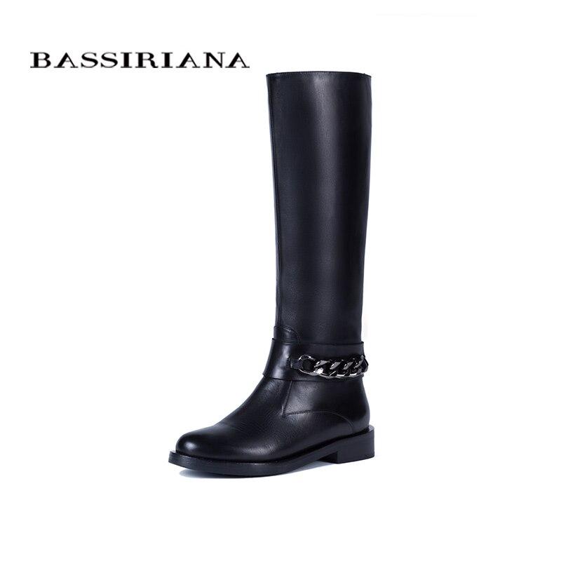 BASSIRIANA Nuovo 2017 classico del cuoio genuino inverno stivali alti scarpe donna suede zip punta rotonda lana con catena nera 36-40 formato