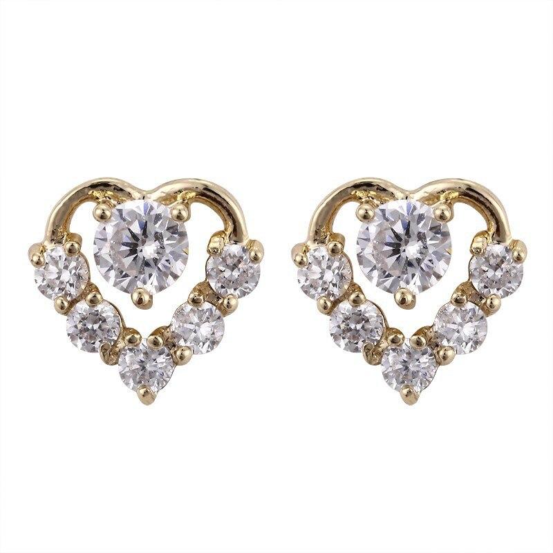 EJ 0074,Wholesale cz classic heart design 18k gold earring ...