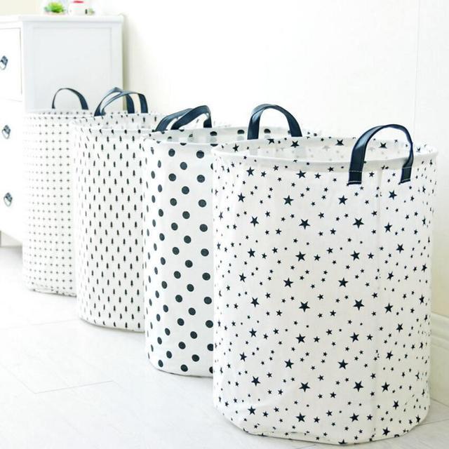 Puntos grandes de cinco puntas estrella paño lavandería cesto ropa ...