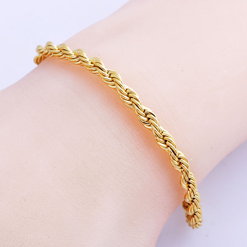 Fashion Mens Cool 18K Gold Filled Rope Bracelet 8.7 Inch Wide 3//4//5mm Wristband