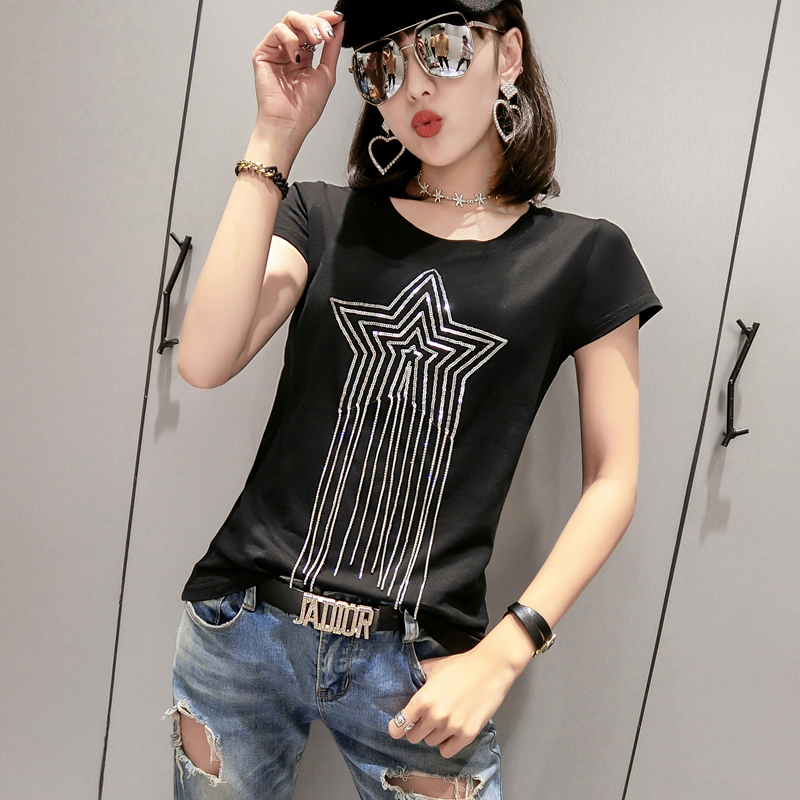 Solid O-Neck Tshirt 2019 New Summer Star Beading High Street Fashion Cotton Top Clothes Shirt Camiseta Mujer Black White T94803L