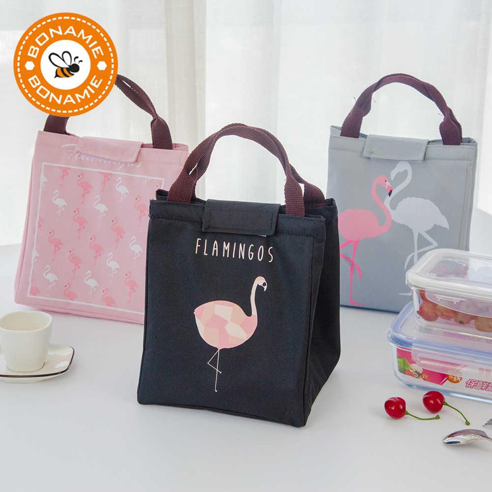 Bonamie flamingo tote thermal bag black waterproof oxford beach lunch bag  food picnic bolsa termica women c83d74462a8bc