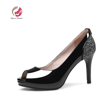 Original Intention Women Pumps Cow Leather Concise Peep Toe Thin High Heel Casual Summer Women Shoes Black White US Size 3-9.