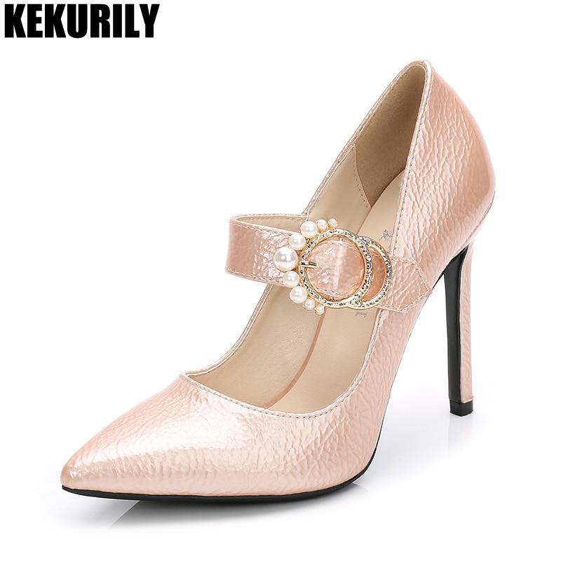 Pointu Sandales Diapositives Noir Mujer Noir Chaussures rouge Pompes Bout De Grande Hauts Femmes Boucle En Verni Taille Rouge Perle Rose Cuir Talons pink Zapatos Az8qxf