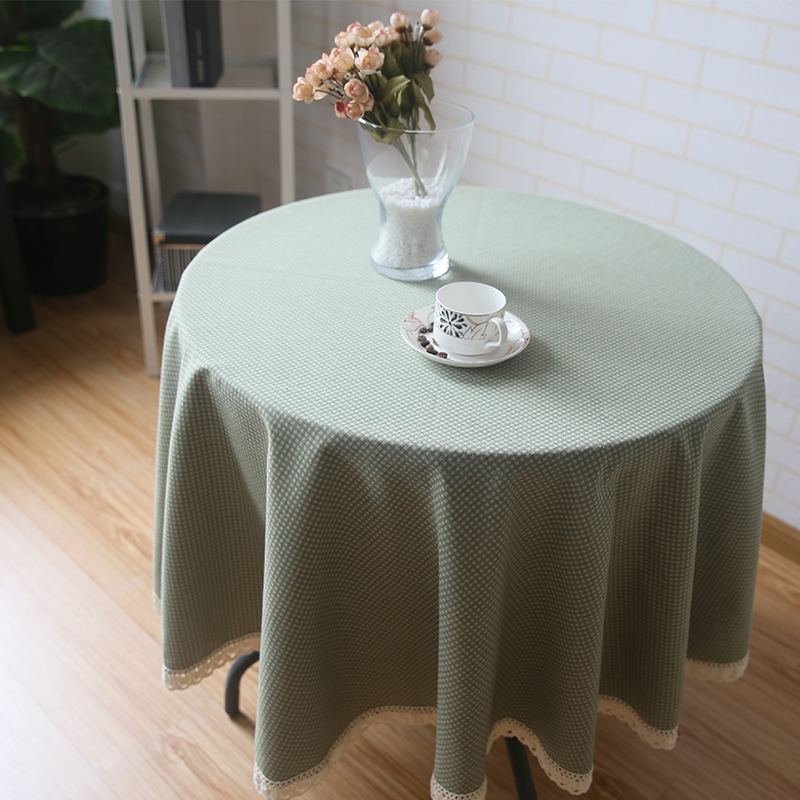 Pastoral Green Round Table Cloth Cotton Rhombus Plaid Lace