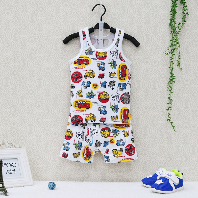купить 2018 Little Q New Style Summer Pure Cotton Boys O Neck Clothing Set Children Clothing Baby Sleeveless+shorts Kids Sleepwear по цене 306.67 рублей