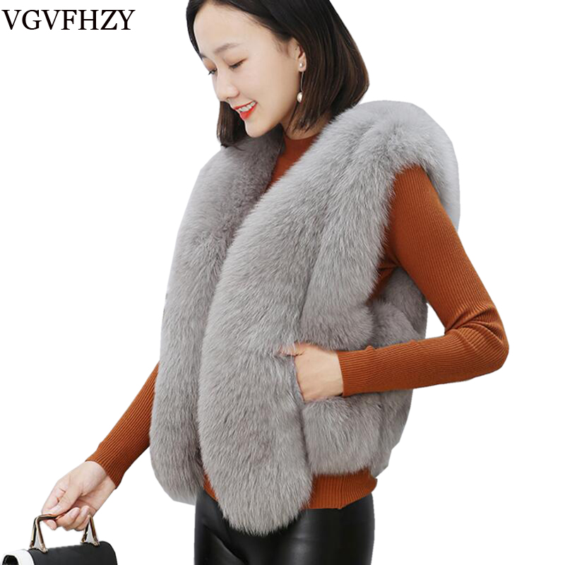 New 2018 Winter Women's Imitation fox fur Coat Artificial Fur Vest Furry Vests Femme Jackets Plus Size Warm Fake Fur Gilet LY673