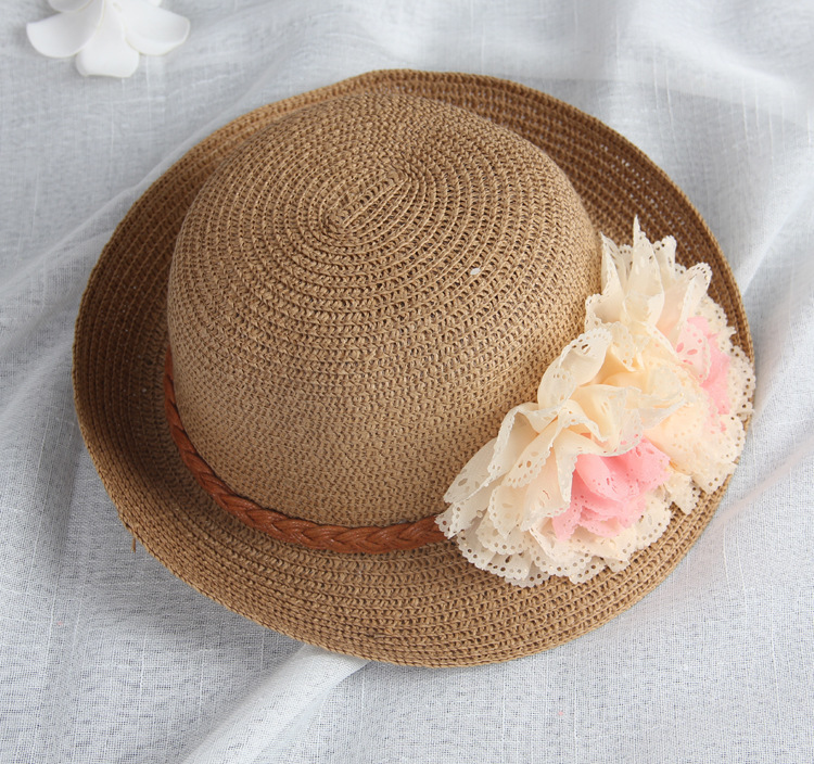 wholesale Summer Kids Floral Straw Hats Fedora Hat Children Visor Beach Sun  Baby Girls Sunhat Wide Brim Floppy Panama For Girl-in Hats   Caps from  Mother ... 1cc928663deb