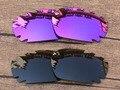 Plasma Púrpura y Verde Negro 2 Pares de Marco de Gafas de sol Polarizadas Lentes De Repuesto Para Quijada Ventilación 100% UVA y Uvb