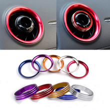 Aluminium alloy car Air Conditioning Air Vent Outlet Ring Cover Trim Decoration stickers For Honda XRV Accessories car-styling