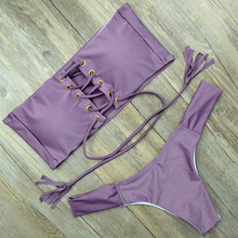 Sexy Chest Cross Bandage Bikini Bandeau Rope Straps Swimsuit Micro Thong Biquini Swimwear Brazilian Bikinis Beach Bathing Suits