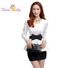2017 Spring Autumn New Women White Blouses Retro Fashion Casual Long Sleeve Floral Lace Tops Slim Lady Ruffles Shirt Bow Belt