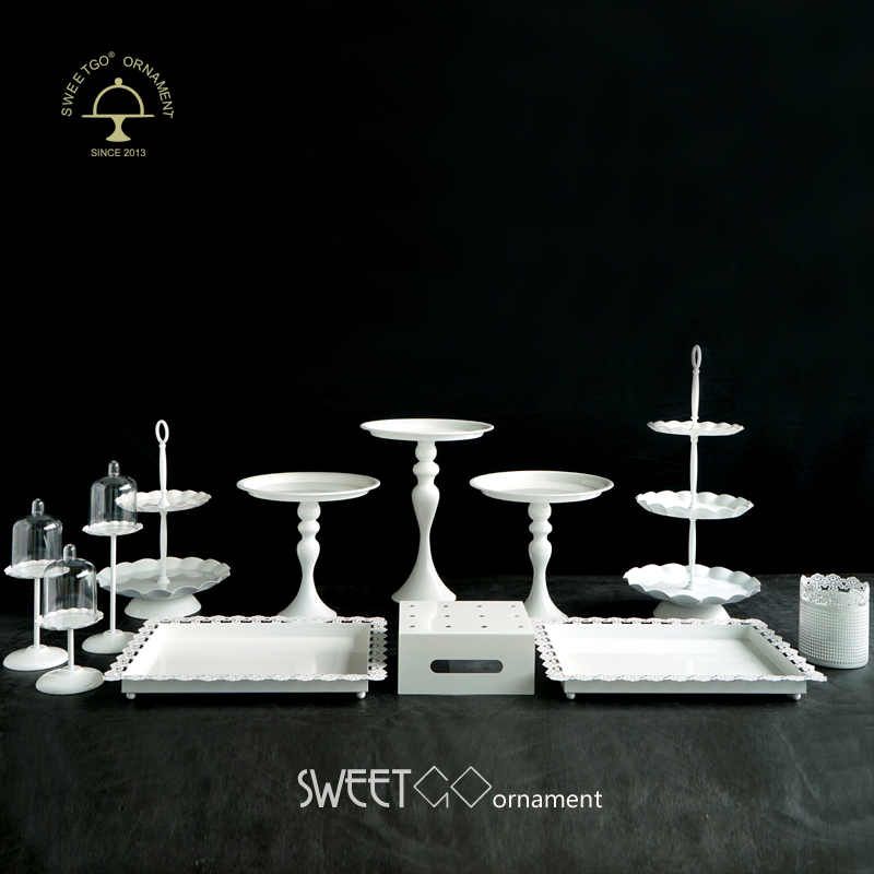 SWEETGO 12 pieces cake stand set White metal wedding cake tools - Kitchen, Dining and Bar