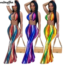 2018 Summer Style Rainbow Multicolor Tye Dye Print Halter Jumpsuit Sexy One Piece Outfits Long Pants Backless Lace Up Mono Mujer