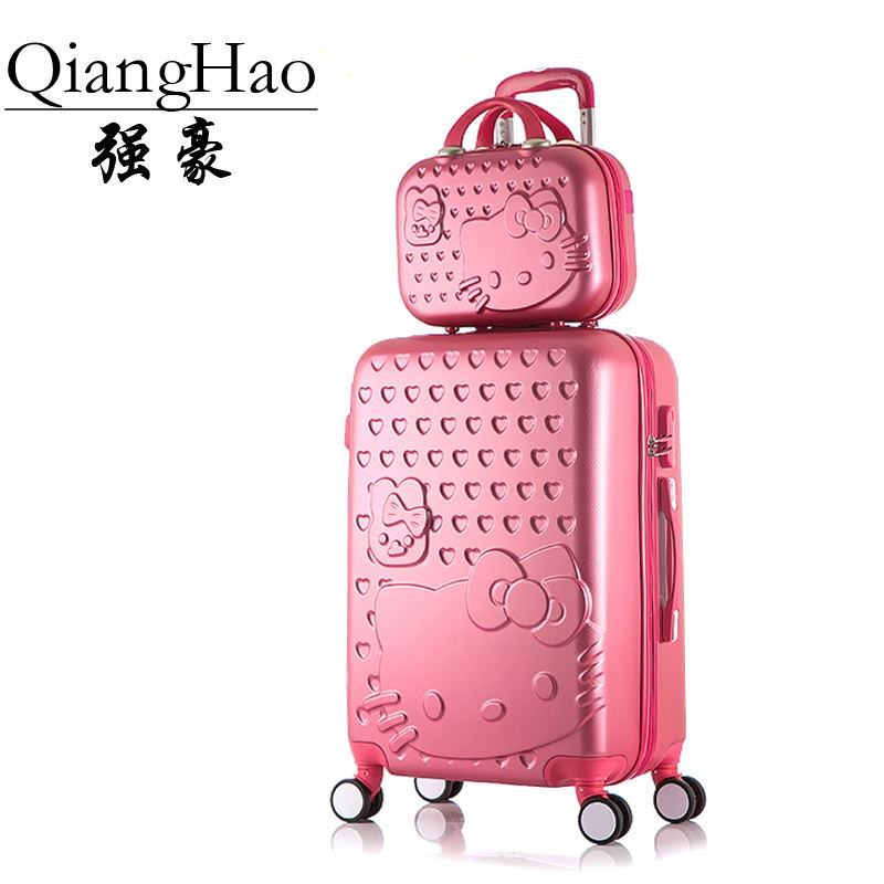 2PCS/SET Lovely 14 inch Cosmetic bag hello Kitty 20 24 inches girl students trolley case Travel luggage woman rolling suitcase