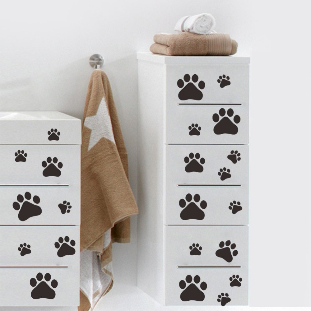 Home Decor Multicolor Dog Cat Paw Print Wall Stickers Walking Paw Prints Wall Decal Home Art Decor Food Dish Room House Bowl Car Sticker Considerate