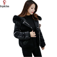 Winter Parkas Blue Black Bomber Jacket Large Fur Colloar Hooded Women Coat Padded Zipper Chaquetas Biker