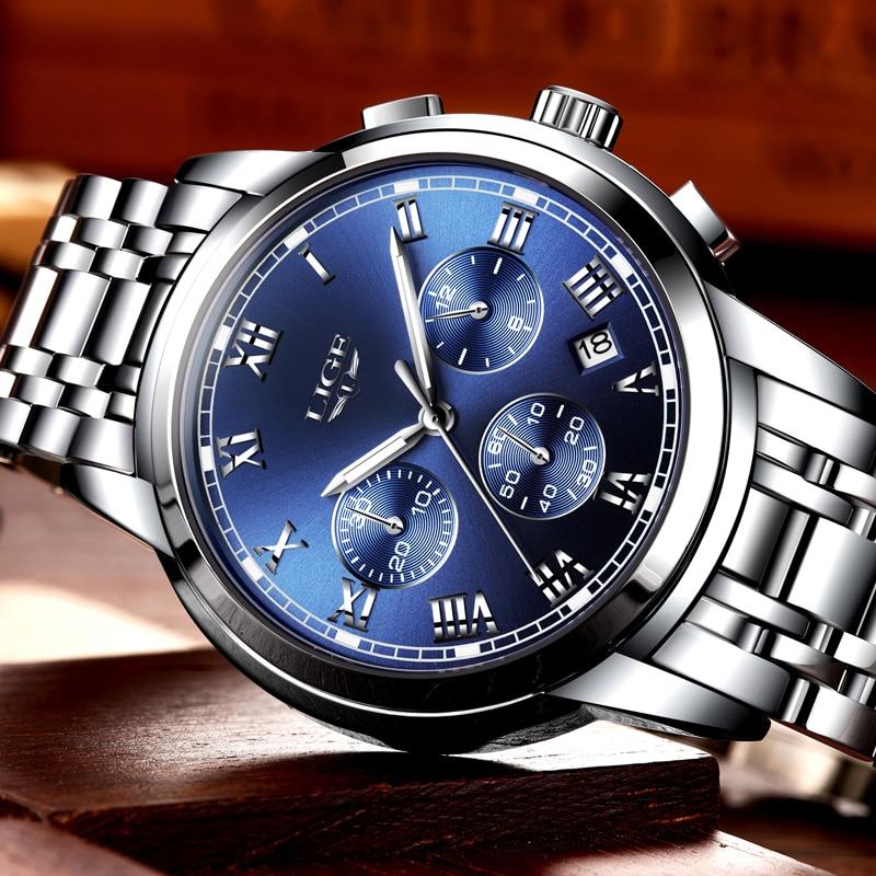 2020 nowe zegarki mężczyźni luksusowa marka LIGE Chronograph mężczyźni sport zegarki wodoodporny pełny stalowy zegarek kwarcowy męski Relogio Masculino 3