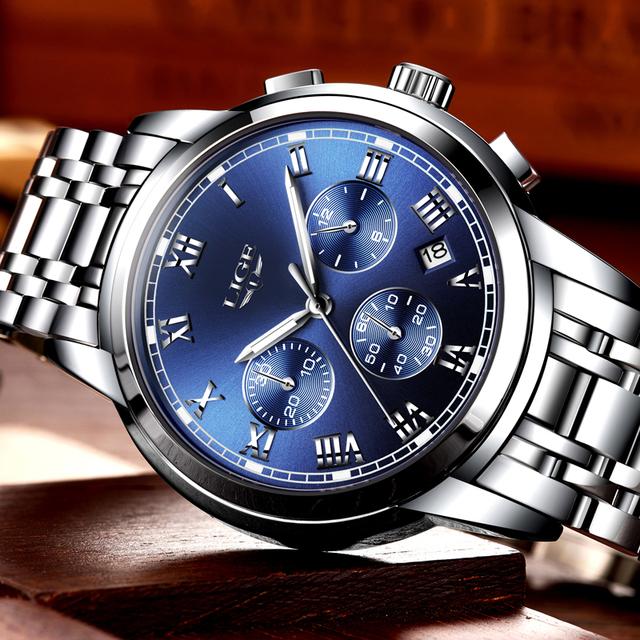 Luxury Brand LIGE Chronograph Men Sports Watches Waterproof Full Steel Quartz