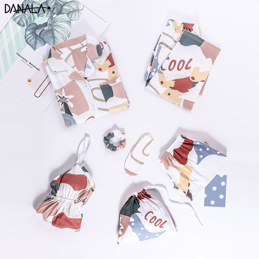DANALA Cotton Casual   Pajamas     Sets   For Women Vogue Fruit Floral Print Women Nightwear   Sets   With Shorts Home Suits Summer 2019