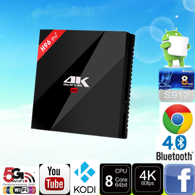 Android TV Box H96 Pro Plus Amlogic S912 Octa Núcleo 3G/32G malvavisco Tv Box 2.4G/5.8 GHz Wifi HDMI 4 K HDR BT4.1 Medios jugador