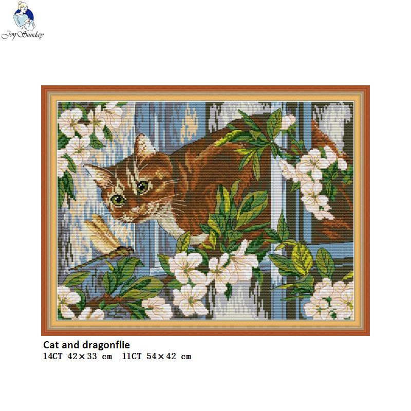 Cat And Dragonflie Animal Embroider DIY Counted Printed On Canvas Cross Stitch DMC Cotton Thread DIY Hand Made Needlework Sets