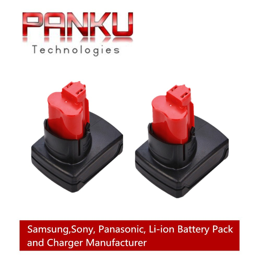 2 X PANKU 12V 4.0Ah Replacement Battery for Milwaukee M12 XC Red Lithium Battery 48-11-2440 48-11-2402 48-11-2411 48-11-2401 panku 14 4v 3 0ah replacement battery for bosch bat038 bat040 bat041 bat140 bat159 bat041 2607335534 35614 13614 3660k 3660ck