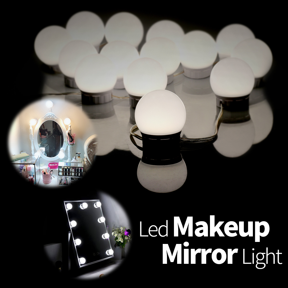 Led Mirror Lights 2 6 10 14 Bulb Kit Vanity Light Makeup Dressing Table Stepless Dimmable 12V USB Wall Lamp Mirror for Bathroom in LED Indoor Wall Lamps from Lights Lighting