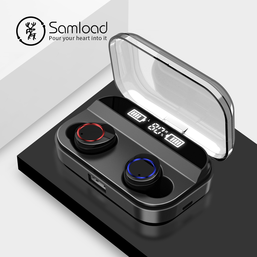 Écouteurs sans fil Samload HIFI son Bluetooth 5.0 écouteurs IP6 7 étanche avec 2600mAh Powerbank box pour ios Android-in Écouteurs et casques from Electronique    1