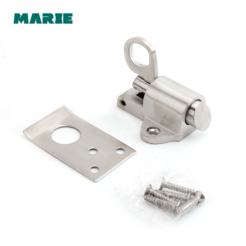 Door Latch Door Bolt Window Gate Latch Security Sliding Door Lock Pull Ring Spring Bounce Door Bolt Stainless Steel # Latch Lock