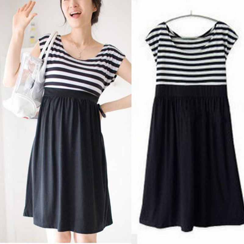 ee5810969acee New Arrival Maternity Dresses for Pregnant Women Loose Clothing Maternity  Fashion Stripe Home Cotton Mother Clothes Hot Sale-in Dresses from Mother &  Kids