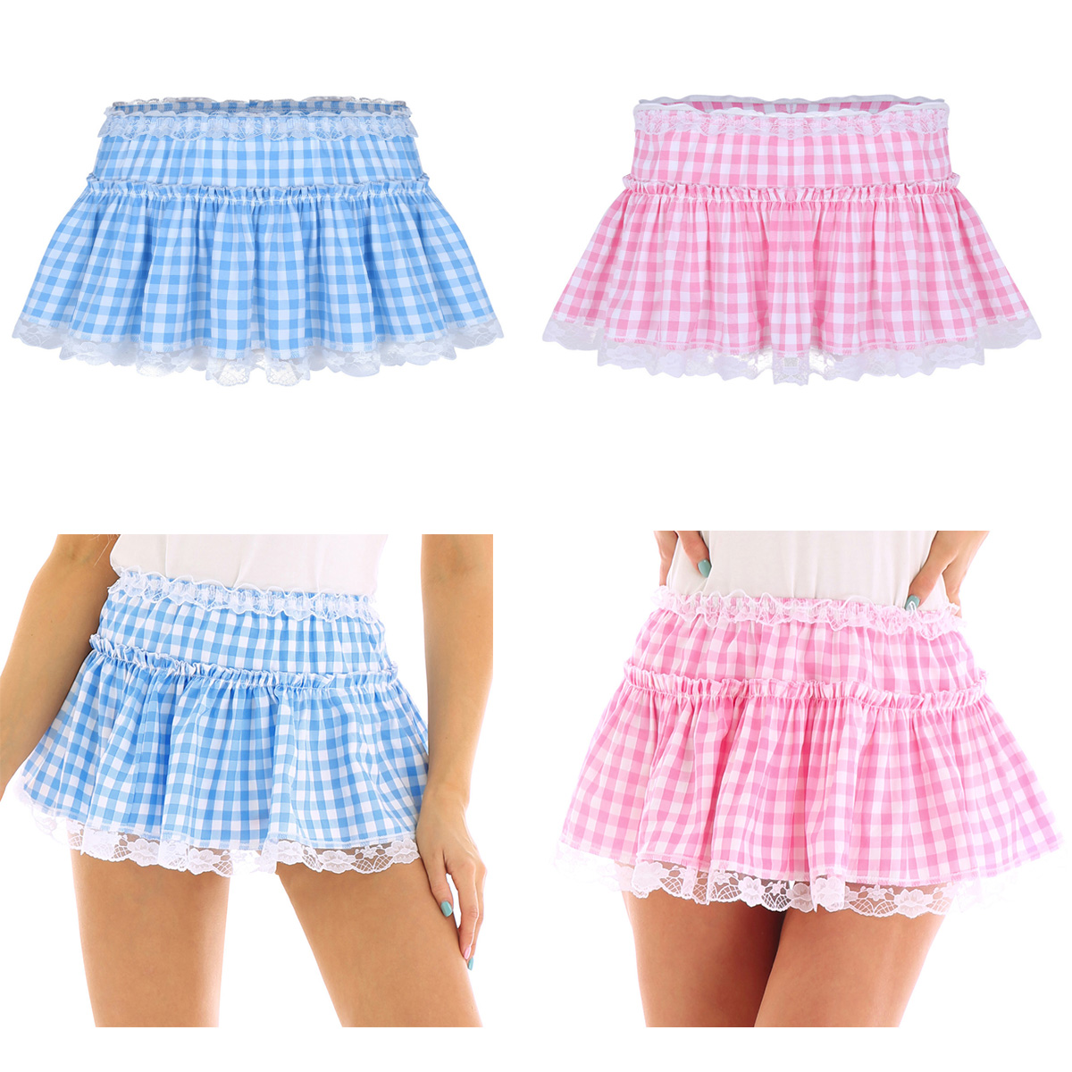 Image 3 - Unisex Men Women A line Mini Skirt  Men Sexy Sissy Skirt Elastic Waistband Short Skirt with Lace Hem Pleated Gingham Roleplay-in Skirts from Women's Clothing