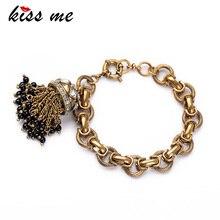 С надписью «KISS ME»(«Поцелуй завод Античное золото Цвет ювелирное изделие, браслет с кисточкой модный очароватеьлный с Браслеты браслеты для Для женщин
