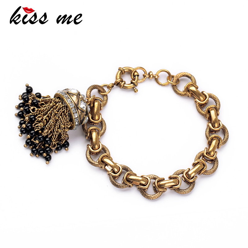 KISS ME Factory 2017 Antique Gold Color Tassel Bracelet Jewelry Charm Bracelets Bangles para mujeres