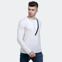 HOT Selling 2017New Stijlvolle Merk Mannen Kleding Effen Kleur Lange Mouw Slim Fit T-shirt Mannen Katoen unieke ontwerp Casual T-shirts