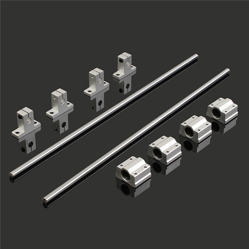 2 X 400mm Chrome Plated Shaft + 4 X LM8UU Linear Bearing Aluminum Block + 4 X Aluminum End Supporters for 3D Printer CNC диски helo he844 chrome plated r20