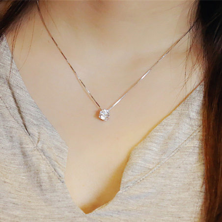 Hot sell shiny crystal pendant 925 sterling silver ladies`necklace female short chain birthday gift drop shipping women no fade