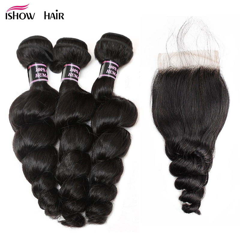 Ishow Peruvian Loose Wave Human Hair Bundles With Closure 4 4 inch Free Part Closure With