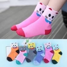5Pairs/Lot 2018 autumn and winter new childrens socks, boys girls cotton cute big eyes cat cartoon